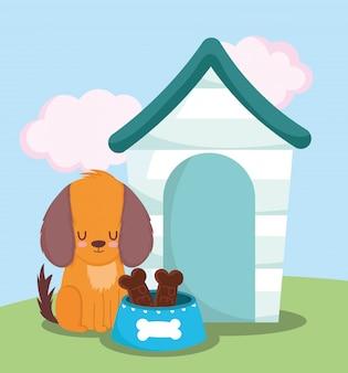 Pet shop, cachorrinho sentado com casa tigela ossos comida animal doméstico desenho animado