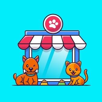 Pet shop cão e gato ícone ilustração. conceito de ícone de animais.