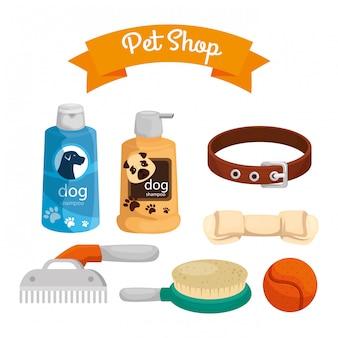 Pet shop com frascos de cuidados