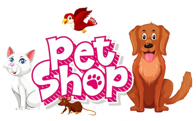 Pet shop com muitos animais fofos