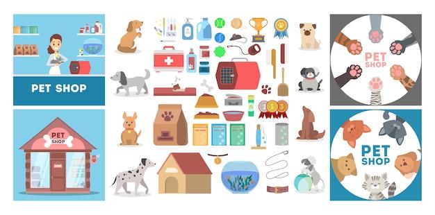 Pet shop conjunto com diferentes mercadorias para animais.