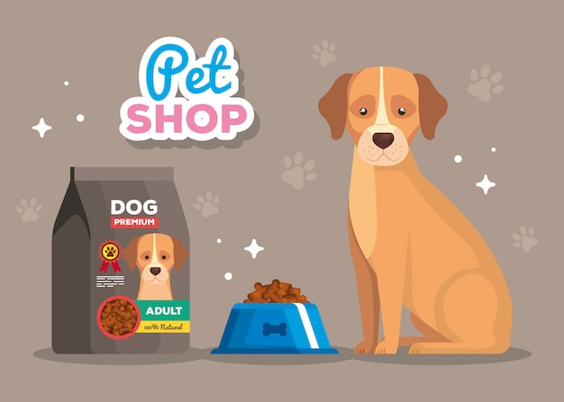 Pet shop e cachorro animal com comida de prato