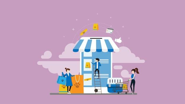 Pet shop pessoas pequenas personagem ilustração
