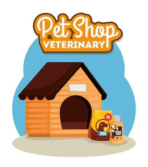 Pet shop veterinária com casa de cachorro