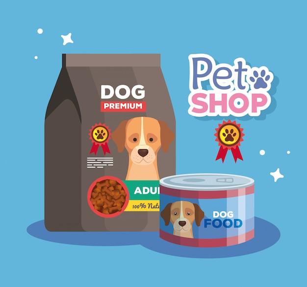 Pet shop veterinária com comida de cachorro