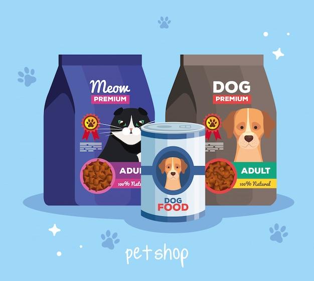 Pet shop veterinário com alimentos para animais