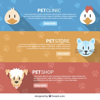 Pet store banners com animais felizes