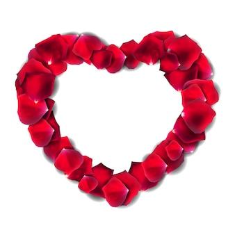 Pétala de flor rosa vermelha, moldura de coração romântico