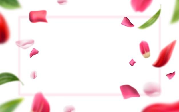 Pétalas de rosa borradas e folhas de fundo