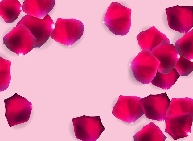Pétalas de rosa naturais abstratas o fundo realista