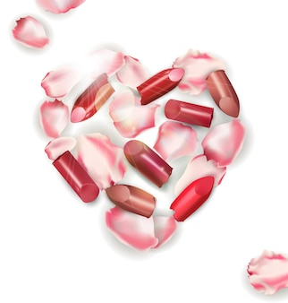 Pétalas de rosas em forma de coração com batom vermelho e rosa quebrado isolado no fundo branco