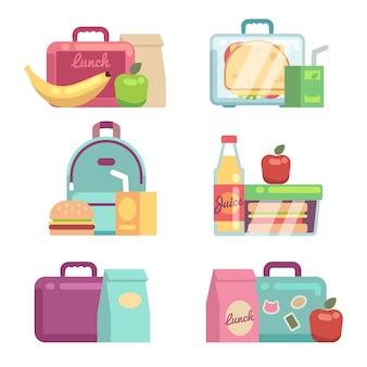 Petiscos para crianças. grupo do vetor das caixas de almoço escolar. recipiente com ilustração de jantar, lancheira e almoço