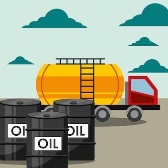 Petroleiro de caminhão de transporte e barris indústria de petróleo