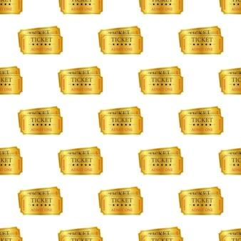 Pettern de ingressos para show dourado realista. ilustração vetorial.