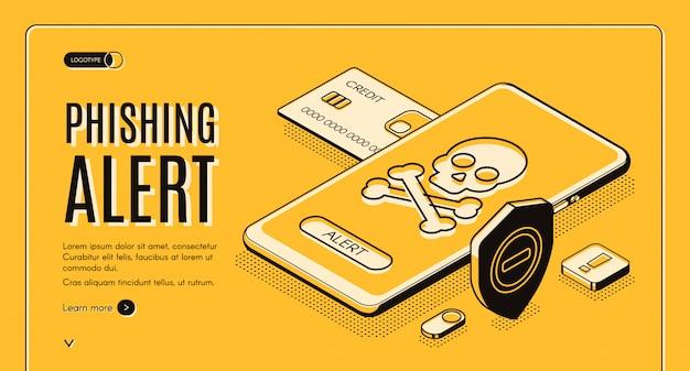 Phishing alertar aplicativo móvel de segurança, solução para dados pessoais e finanças protegidas contra uso não autorizado