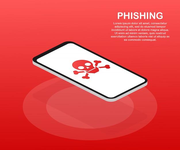 Phishing através da ilustração em vetor internet isométrica conceito. mensagens de falsificação ou pesca de e-mail. hacking