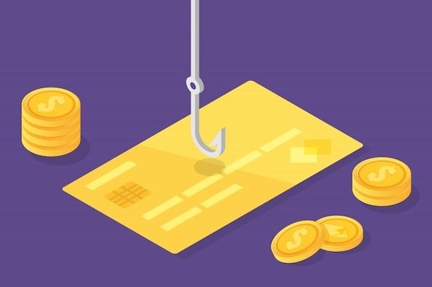 Phishing de dados isométrico, golpe on-line de fraude. pesca por e-mail, cartão de crédito e anzol. ladrão cibernético. ilustração vetorial