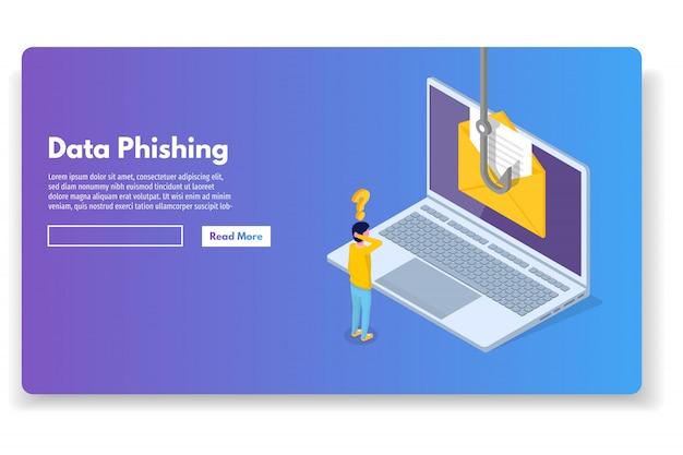 Phishing de dados isométrico, golpe on-line de fraude. pesca por e-mail, envelope e anzol. ladrão cibernético. ilustração vetorial