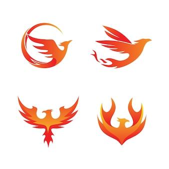Phoenix fire set coleção logo vector