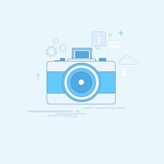 Photo camera icon ilustração em vetor linha fina