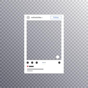 Photo frame inspirado para compartilhamento de internet de amigos. mídia social photo frame post em uma rede social