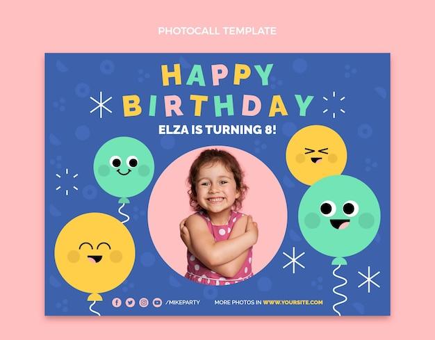 Photocall de aniversário mínimo de design plano