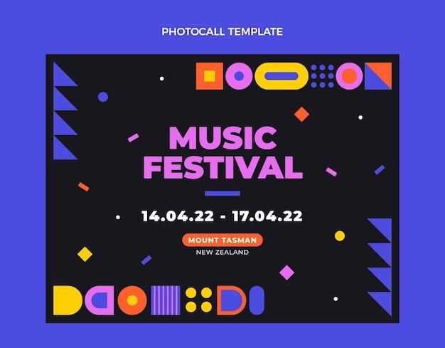 Photocall de festival de música em mosaico de design plano