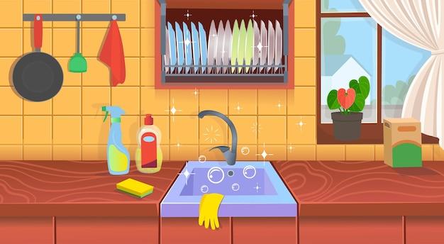 Pia de cozinha com pratos limpos. cozinha limpa