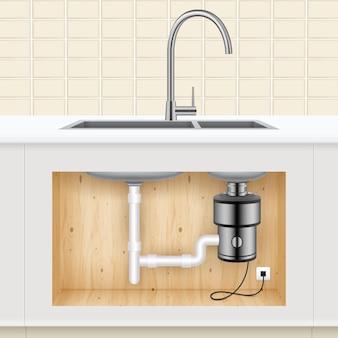 Pia de cozinha com triturador de resíduos alimentares conectado à tomada elétrica realista