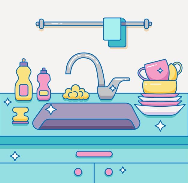 Pia de cozinha com utensílios de cozinha, pratos, utensílios, toalha, esponja de lavar, ilustração dos desenhos animados de contorno colorido de detergente de prato.