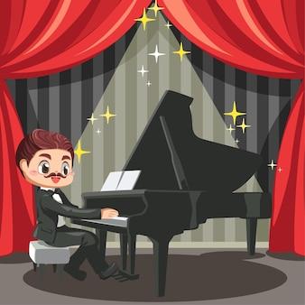 Pianista de bigode sentado e tocando piano de cauda em um grande palco