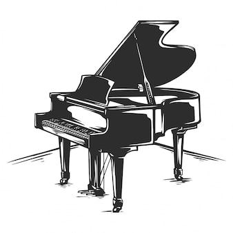Piano de cauda clássico preto e branco