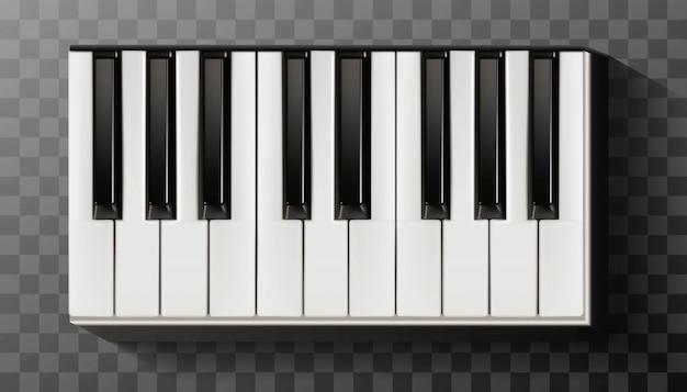 Piano de ícone com teclado preto e branco.