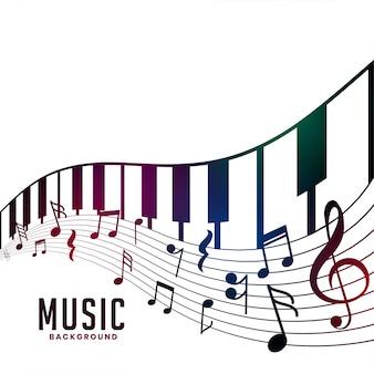 Piano e notas musicais acorde de fundo