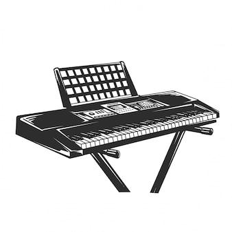Piano elétrico preto e branco