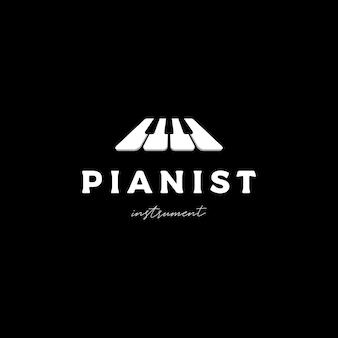 Piano tuts music logo design vector