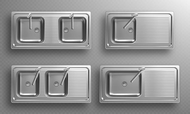 Pias de cozinha de aço inoxidável com torneiras na vista superior conjunto realista de bacias de aço vazias com ralo do misturador da bacia e escorredor de utensílios d pias duplas de metal isoladas na parede transparente