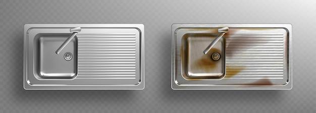 Pias de cozinha inoxidáveis com torneiras, vista de cima