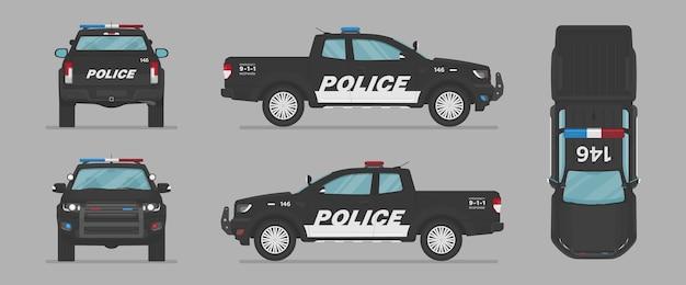 Picape da polícia de vetor de lados diferentes