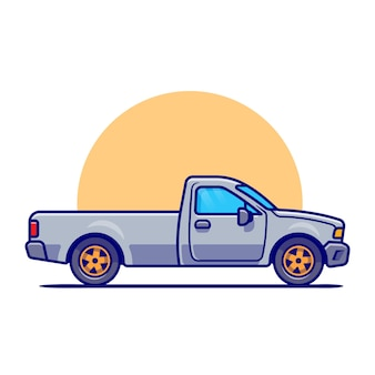 Pick up car cartoon. transporte de veículo isolado