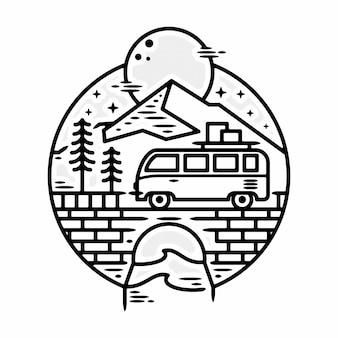 Picnic van minimalista logotipo vintage modelo distintivo ilustração monoline vetor premium