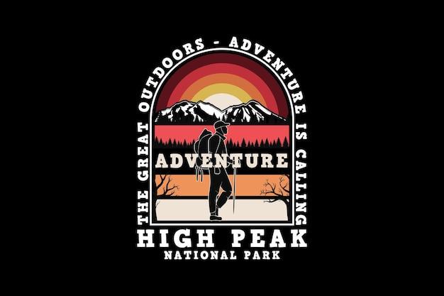 Pico alto de aventura, estilo de silhueta de design