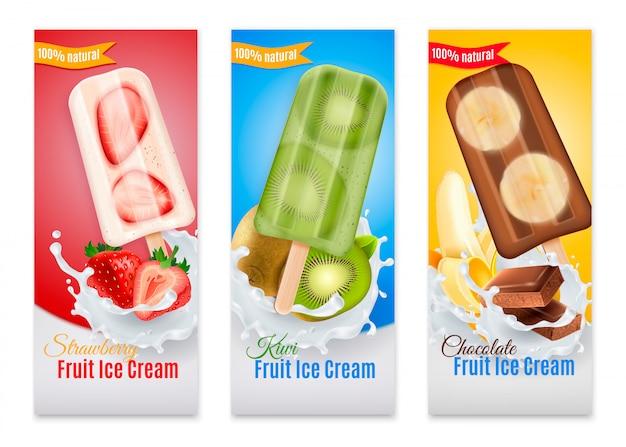 Picolés banners realistas com publicidade de morango kiwi e chocolate frutas sorvete ilustração isolada