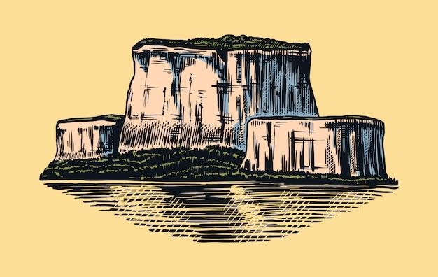 Picos de montanhas, rochas antigas, cordilheiras antigas. desenho vetorial desenhada de mão ao ar livre em estilo gravado.