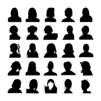 Pictograma de conjunto de silhuetas de rosto