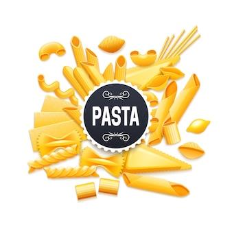 Pictograma de variedades de massas secas tradicionais italianas para título de rótulo de pacote do produto
