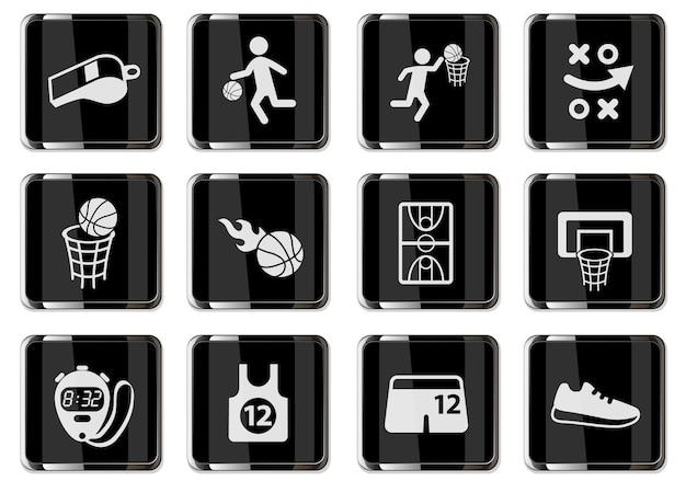 Pictogramas de basquete em botões cromados pretos. ícone definido para seu projeto. ícones do vetor