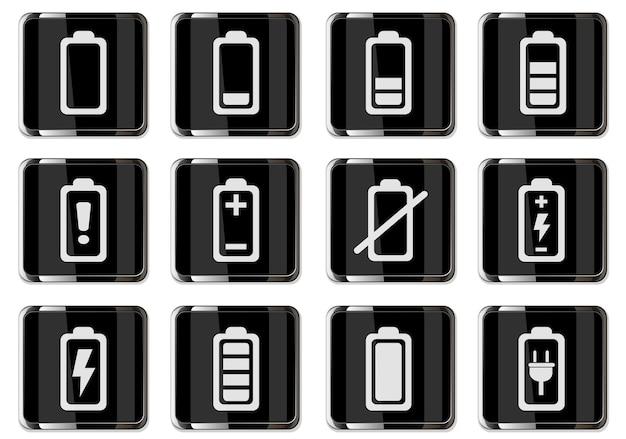 Pictogramas de bateria em ícones de botões cromados pretos isolados para o design da interface do usuário
