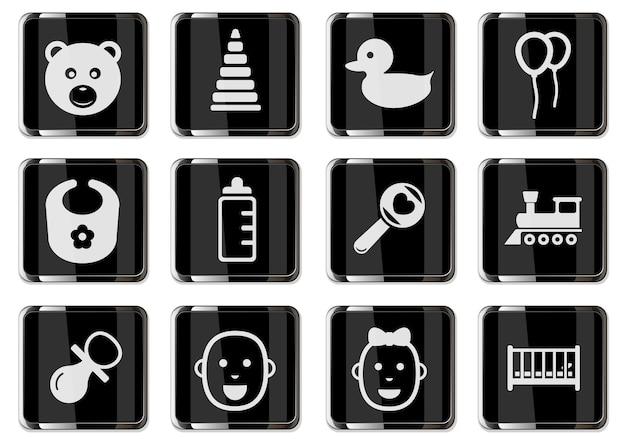 Pictogramas de brinquedos de bebê em botões cromados pretos. ícone definido para seu projeto. ícones do vetor