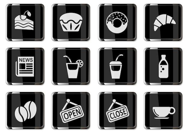 Pictogramas de cafeteria em botões cromados pretos. ícone definido para seu projeto. ícones do vetor